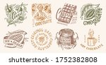 cocoa beans and chocolate.... | Shutterstock .eps vector #1752382808