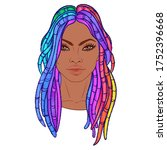 lgbt person with rainbow hair.... | Shutterstock .eps vector #1752396668