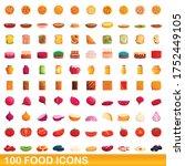 100 food icons set. cartoon... | Shutterstock .eps vector #1752449105