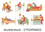 father care feeding kid vector. ... | Shutterstock .eps vector #1752496832