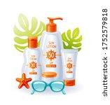 sunscreen cream bottles. sun...   Shutterstock .eps vector #1752579818
