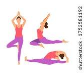 set yoga pose. yoga asana ... | Shutterstock .eps vector #1752581192