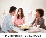 cheerful multiethnic group of... | Shutterstock . vector #175259015