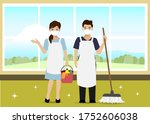 man and woman wearing face mask ...   Shutterstock .eps vector #1752606038