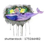 Boho Whale With Flower Wreath....