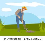 Man With Shovel Digging A Hole...