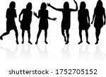 women silhouettes on a white... | Shutterstock .eps vector #1752705152