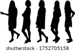 women silhouettes on a white... | Shutterstock .eps vector #1752705158