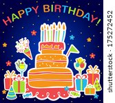 happy birthday card with cake... | Shutterstock .eps vector #175272452