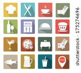 restaurant icon set | Shutterstock .eps vector #175274696