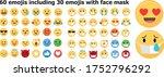 set of 60 emojis including... | Shutterstock .eps vector #1752796292