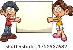 cartoon boy and girl holding a... | Shutterstock .eps vector #1752937682