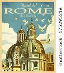 travel to rome poster   vintage ... | Shutterstock .eps vector #175295216