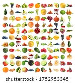 set of fresh ripe fruits and... | Shutterstock . vector #1752953345