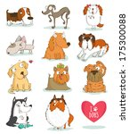 set of cute dog characters.... | Shutterstock .eps vector #175300088