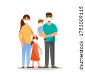 family with n95 masks. dirty... | Shutterstock .eps vector #1753009115
