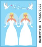 two blond brides. double... | Shutterstock .eps vector #1753078022