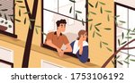man and woman looking out the... | Shutterstock .eps vector #1753106192