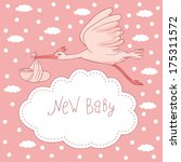 new baby  stork flying with... | Shutterstock .eps vector #175311572