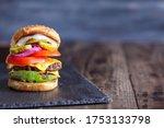 juicy double cheeseburger made...