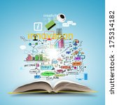 opened book with business... | Shutterstock . vector #175314182