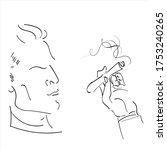 a man smokes a cigar. vector... | Shutterstock .eps vector #1753240265