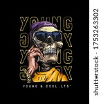 typography slogan with skull in ... | Shutterstock .eps vector #1753263302