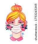 illustration woman wearing a... | Shutterstock . vector #1753265345