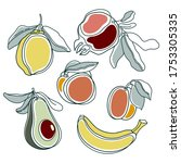 line drawing fruits. modern... | Shutterstock .eps vector #1753305335