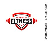 fitness badge sport logo design | Shutterstock .eps vector #1753314335