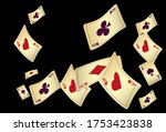 Playing Cards Falling On Black...