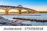 View of George P. Coleman Memorial Bridge from Yorktown Beach, Yorktown VA USA