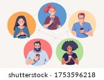 diverse group of people with... | Shutterstock .eps vector #1753596218