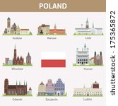 Poland. Symbols of cities. Vector set - stock vector