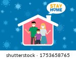 family stay home during the... | Shutterstock .eps vector #1753658765