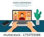 video conference on laptop.... | Shutterstock .eps vector #1753705088