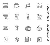 grocery related line icons set  ... | Shutterstock .eps vector #1753709558