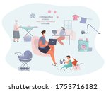 remote work or study at home... | Shutterstock .eps vector #1753716182