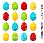set of color easter eggs | Shutterstock .eps vector #175374128