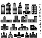 set of buildings | Shutterstock .eps vector #175376012