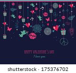 vintage valentines day colorful ... | Shutterstock . vector #175376702