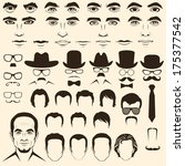 vector men eye, mustache, glasses, hat, lips and hair, face parts, head character