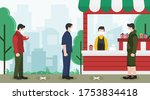 new normal concept with people... | Shutterstock .eps vector #1753834418