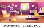 girl bedroom interior in pink... | Shutterstock .eps vector #1753895972