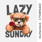 lazy sunday slogan with bear...   Shutterstock .eps vector #1753896602