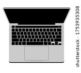 top view gray modern laptop... | Shutterstock .eps vector #1753935308