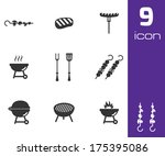 vector black barbecue icons set ... | Shutterstock .eps vector #175395086