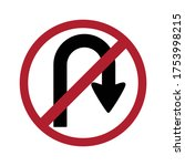 no return to right sign  no u... | Shutterstock .eps vector #1753998215
