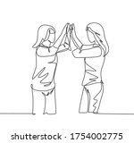single line drawing of two best ...   Shutterstock .eps vector #1754002775