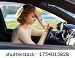 Exhausted woman driver feeling...